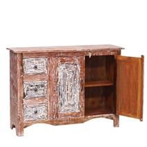 Bakersfield Reclaimed Wood 3 Drawer Rustic Sideboard Cabinet
