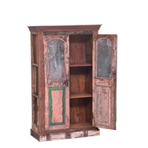 Brisbin Handcrafted Reclaimed Wood Rustic Armoire With Shelves