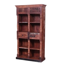 Grenada Reclaimed Wood Cube Bookcase with Drawer