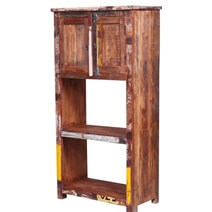 Hartford Reclaimed Wood Bookcase with File Cabinet on Top