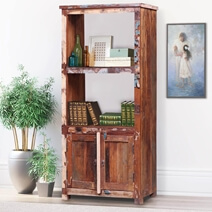 Hartford Reclaimed Wood Bookcase with File Cabinet At Bottom