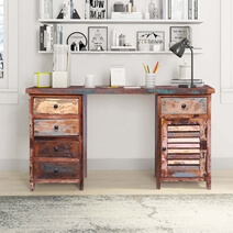 Triastan Reclaimed Wood 5 Drawer Executive Desk