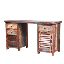Triastan Reclaimed Wood Multicolored Shutter Door Executive Desk With 5 Drawer