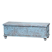 Andersonville Hand Carved Reclaimed Wood Storage Trunk