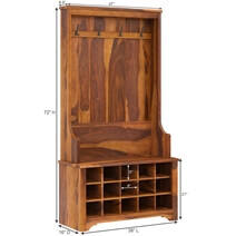 Cornish Rustic Solid Wood Entryway Hall Tree With Shoe Storage