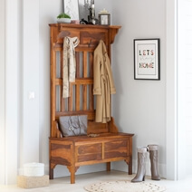 Dedham Handcrafted Rustic Solid Wood Entryway Hall Tree With Storage