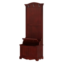 Hoagland Handcrafted Mahogany Wood Entryway Hall Tree with Storage