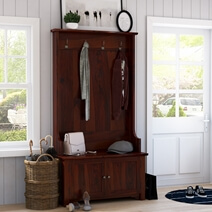 Ravenna Rustic Solid Wood Entryway Hall Tree with Storage