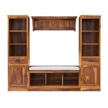 Peletier Rustic Solid Wood 4 Piece Entryway Hall Tree Set