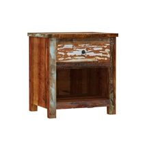Eunola Handcrafted Solid Reclaimed Wood Nightstand With Drawer