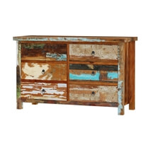 Eunola Solid Reclaimed Wood Double Dresser With 6 Drawers