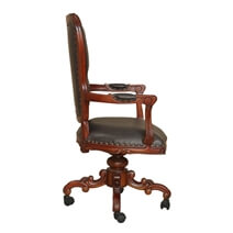Harborside Mahogany Wood Leather Tufted Rolling Executive Office Chair