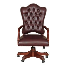 Vonda Mahogany Wood Leather Tufted Rolling Executive Office Chair