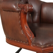 Flatiron Mahogany Wood Leather Tufted Rolling Executive Office Chair