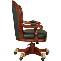 Sevan Mahogany Wood Leather Tufted Rolling Executive Office Chair