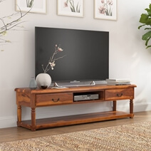 Isleton Rustic Solid Wood 2 Drawer Baluster TV Media Stand