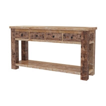 Britain Two Tier Rustic Teak Wood Console Hall Table With 4 Drawers