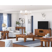 Terrarum Rustic Solid Wood 5 Piece Living Room Set