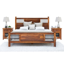 San Francisco Iron Grill Fitted Rustic Solid Wood Platform Bed
