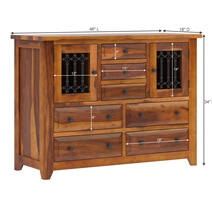 San Francisco Iron Grill Rustic Solid Wood Bedroom Dresser