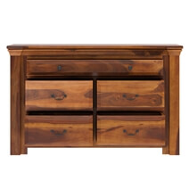 Simply Tudor Rustic Solid Wood Bedroom Dresser With 5 Drawers