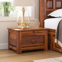 Simply Tudor Rustic Solid Wood Bedroom Nightstand With Drawer