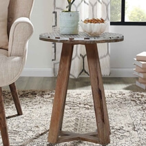 Morocco Rustic Reclaimed Wood Round End Table