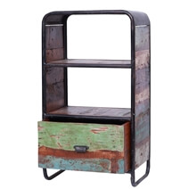 Bellevue 2 Tier Industrial & Reclaimed Wood End Table with Drawer