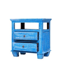 Paterson Dawn Blue Reclaimed Wood Nightstand With 2 Drawers
