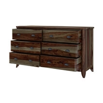Thornton Rustic Solid Rose Wood Bedroom Dresser With 6 Drawers