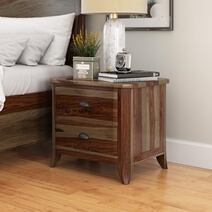 Thornton Rustic Solid Wood Nightstand With 2 Drawers