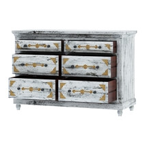 Tudor Brass Inlay Distressed Mango Wood White Dresser With 6 Drawers