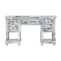 Tudor Brass Inlay And Distressed Mango Wood 3-Piece Vanity Table Set