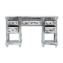 Tudor Brass Inlay And Distressed Mango Wood 3-Piece Vanity Table Set
