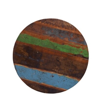 Spokane Multicolored Iron And Rustic Reclaimed Wood Round Coffee Table