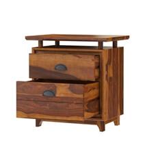 Hondah Rustic Solid Wood Desk with File Cabinet Set