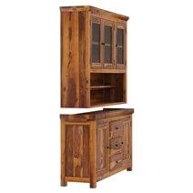 Naperville Rustic Solid Wood Glass Door Dining Room Kitchen Hutch