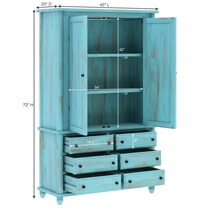 Victorian Turquoise Mango Wood Clothing Armoire Wardrobe With Drawers