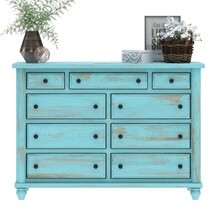 Victorian Mango Wood Vintage Turquoise Bedroom Dresser With 9 Drawers