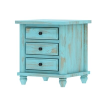 Victorian Mango Wood Vintage Turquoise Nightstand With 3 Drawers
