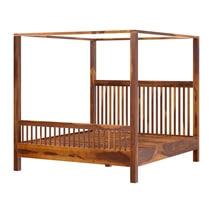 Kodiak Rustic Solid Wood Platform Canopy Bed