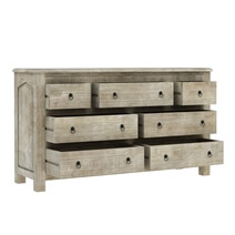 Mission Solid Mango Wood White Bedroom Dresser With 7 Drawers
