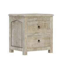 Mission Winter White Mango Wood Nightstand With 2 Drawers
