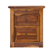 Ansonville Rustic Solid Wood Desk with File Cabinet Set