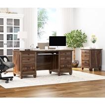 Klagetoh Rustic Solid Wood 6 Drawer Desk with File Cabinet