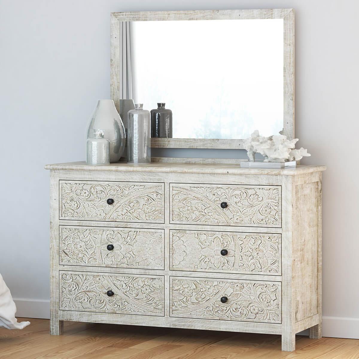 Calistoga Handcarved Solid Wood 6 Drawer White Bedroom Dresser