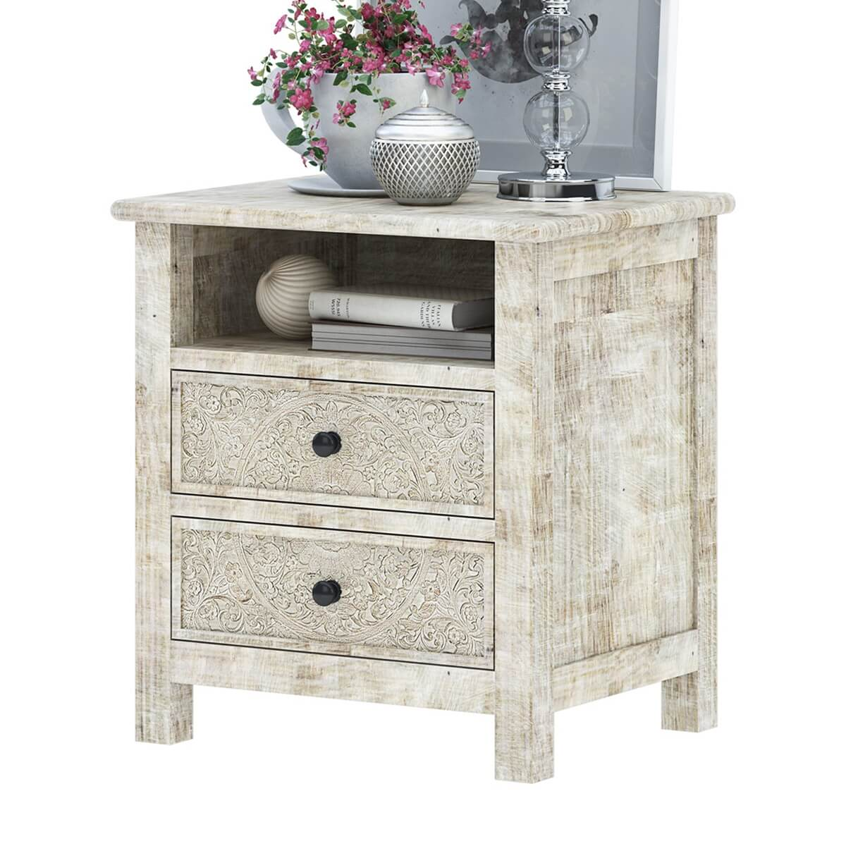 Calistoga Weathered Handcarved Solid Wood White Nightstand