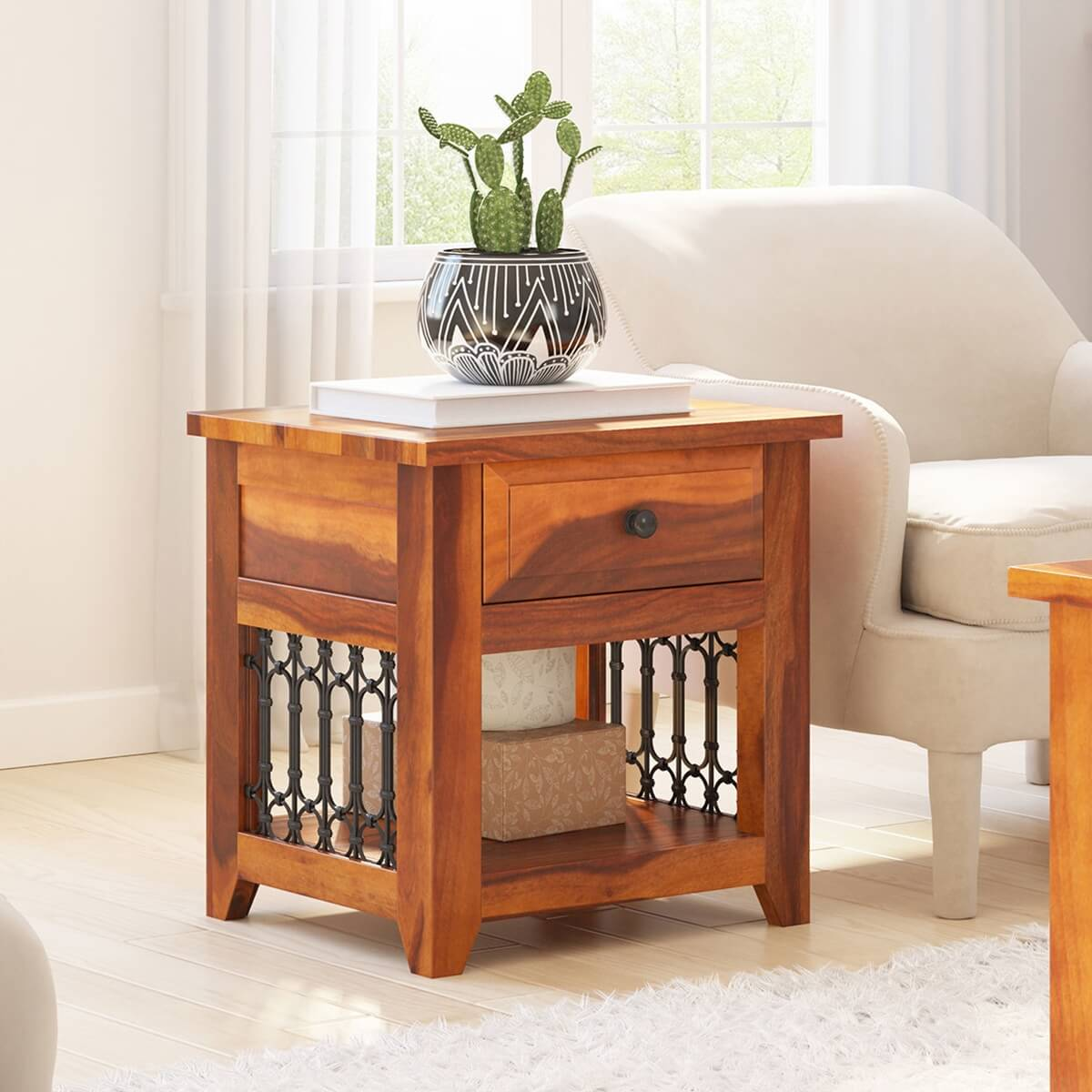 San Francisco Iron Grill Rustic Solid Wood End Table With Drawer