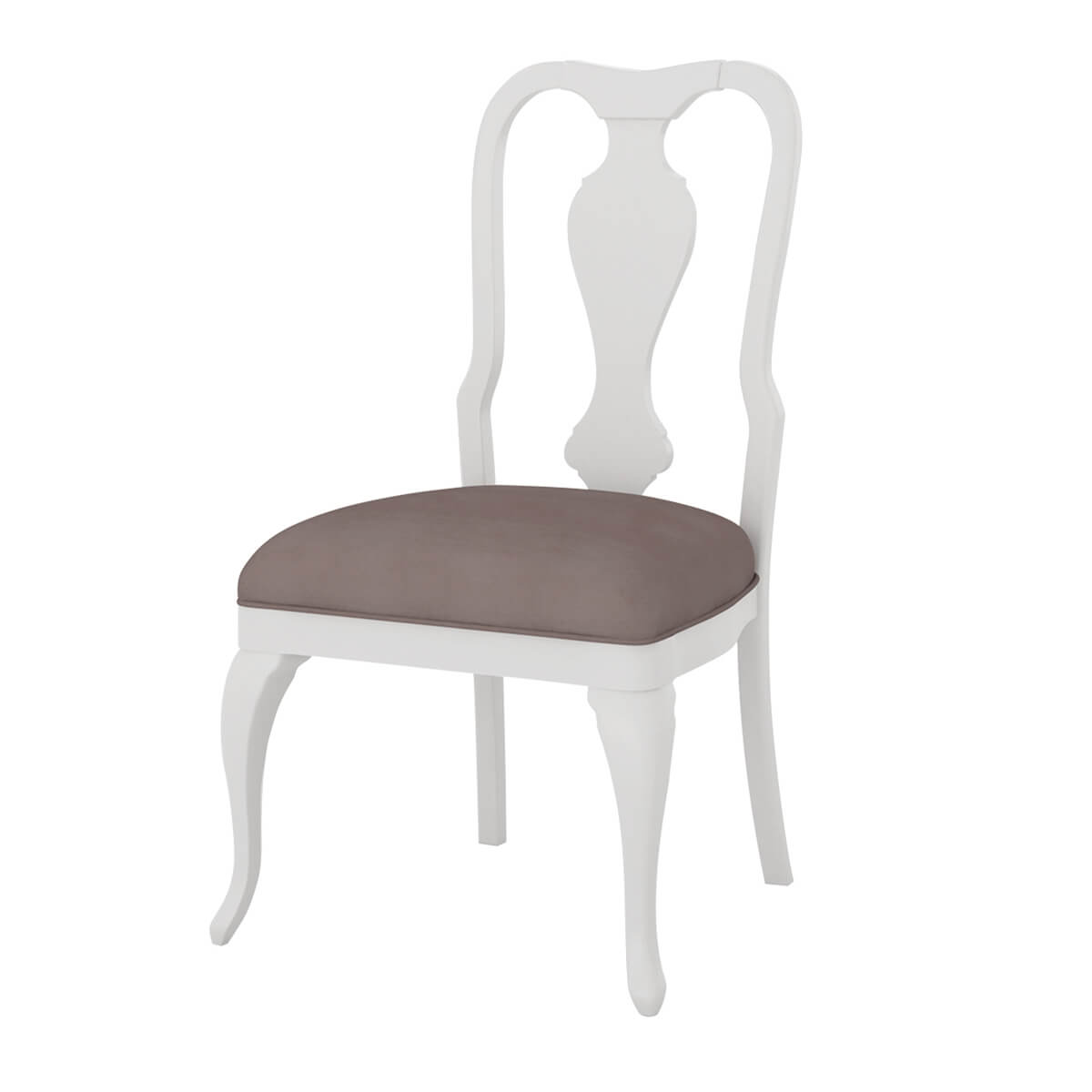 Anderra Solid Mahogany Wood White Dining Chair with Upholstered Seat