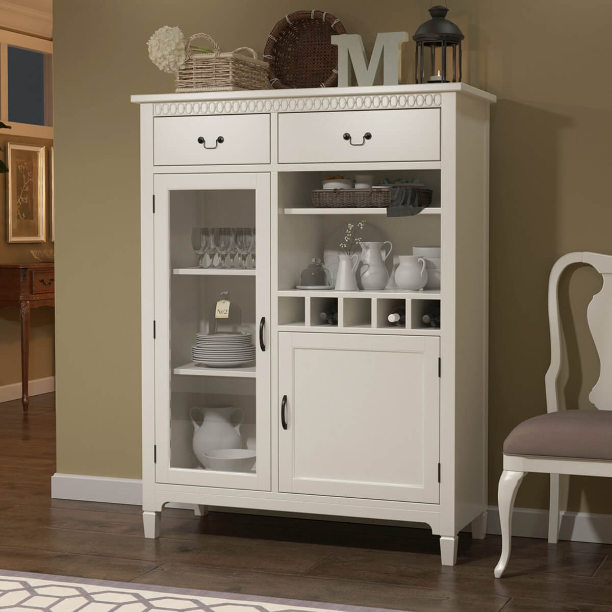 Anderra Solid Mahogany Wood White Tall Bar Cabinet with Drawers